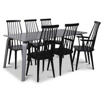Visby matgrupp, 180 cm grått bord med 6 st svarta Dalsland pinnstolar med armstöd