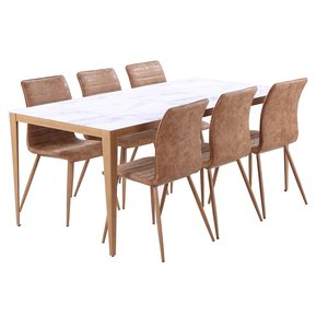 Quick matgrupp - Bord inklusive 6 st stolar - Marmorimitation/ekfolie/PU
