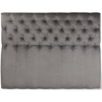 Anna sänggavel med knappar (Grå sammet) - Valfri bredd