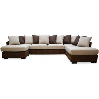 Delux U-soffa med öppet avslut höger - Brun/Beige/Vintage