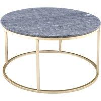 Accent soffbord runt 85 - Grå marmor / Mässingsfärgat underrede