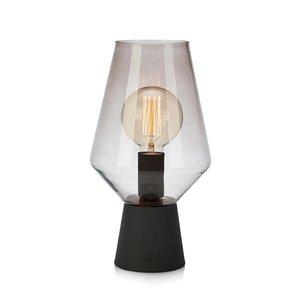 Retro Bordslampa - Svart/Rökfärgat Glas
