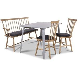 Visby matgrupp - Grått bord med 2 st Småland pinnstolar och 1 st Småland pinnsoffa - Grå / Ek