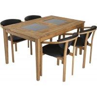 Gränna matgrupp inkl. 4 st Hammel stolar - Ek/Svart PU