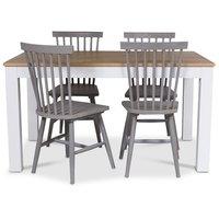 Dalarö matgrupp 140 cm bord vit/ek + 4 st grå pinnstolar