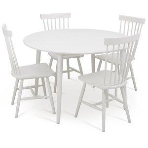 Rosvik matgrupp runt vitt matbord med 4 st Asta pinnstolar Vit