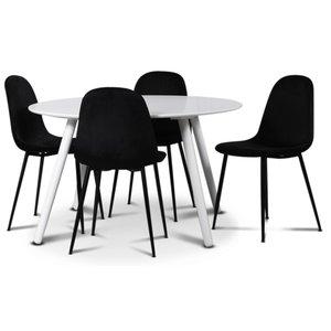 Rosvik matgrupp, matbord med 4 st Carisma sammetsstolar - Vit/Svart