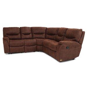 Rom recliner-hörnsoffa - 5-sits i brunt microfibertyg