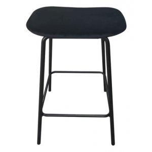 Shelby barstol - Svart sammet / svart