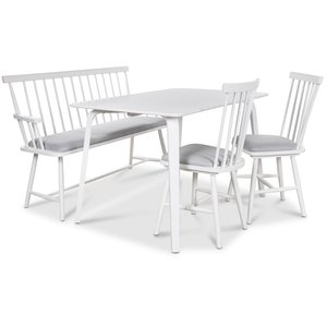 Visby matgrupp - Vitt bord med 2 st Småland pinnstolar och 1 st Småland pinnsoffa - Vit / Vit