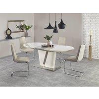 Hattie ovalt matbord 160-200 cm - Vit(Högglans) / Krom