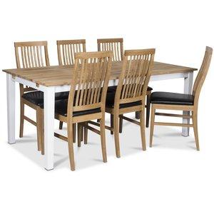 Österlen matgrupp, Klassiskt 180 cm matbord i vit/ek med 6 st Kivik matstolar med sits i svart PU