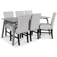 Visby matgrupp, 180 cm grått bord med 6 st Twitter matstolar i vitt PU