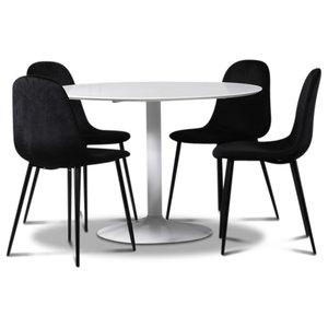Seat matgrupp, runt matbord med 4 st Carisma sammetsstolar - Vit/Svart