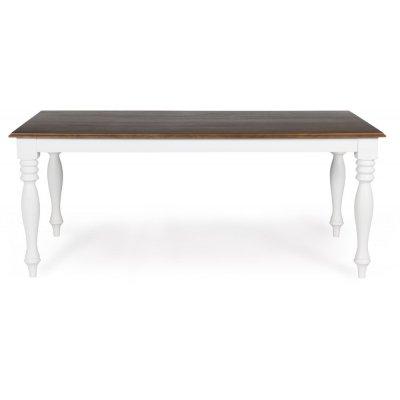 New England matbord - Vit/Brunbets