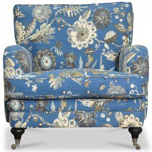 Savoy fåtölj med blommigt tyg - Havanna blå