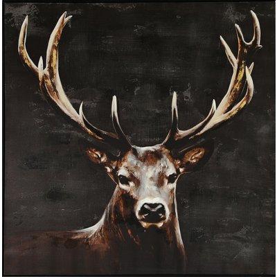 Tavla med ram - Hjort 100x100 cm