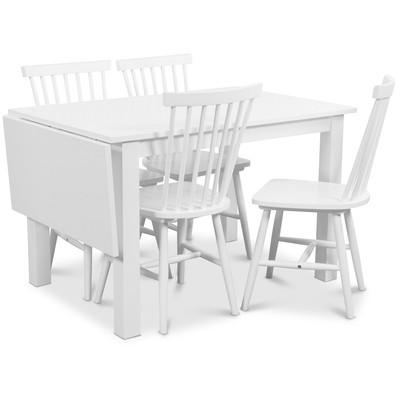 Sander matgrupp, Bord med klaff och 4 st vita Visby pinnstolar