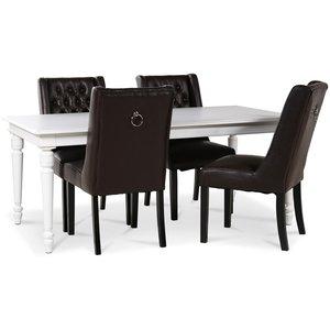 Paris matgrupp vitt bord med 4 st Windsor stolar i brunt PU med rygghandtag