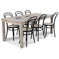 Jasmine matgrupp med bord i whitewash och 6 st Thonet No14 matstolar