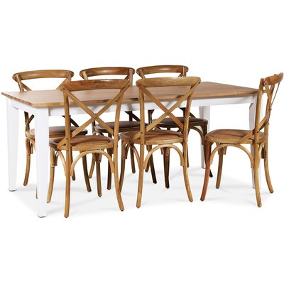 Dalarös matgrupp 180 cm bord vit/ek + 6 st Gaston matstolar i natur