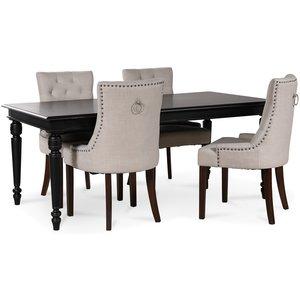 Paris matgrupp svart bord med 4 st Tuva New Port stolar i beige tyg