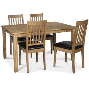 Österlen matgrupp, Klassiskt 140 cm matbord i ek med 4 st vita Simris matstolar i ek