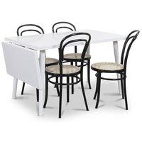 Dalsland matgrupp, Bord med klaff och 4 st svarta Thonet No14 matstolar