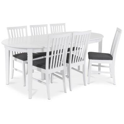 Sandhamn Matgrupp ovalt bord med 6 st Sandhamn stolar i Grått tyg