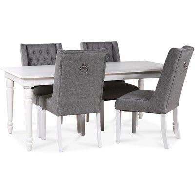 Paris matgrupp vitt bord med 4 st Windsor stolar i grått tyg med rygghandtag