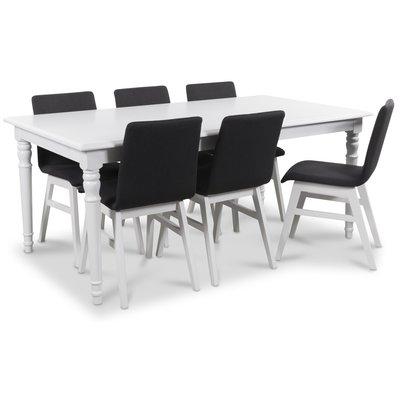 Nomi matgrupp 180 cm bord med 6 st Molly matstolar i mörkgrått tyg
