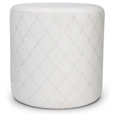 Check cylinderformad sittpuff - Vit (sammet)