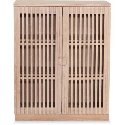 Level skåp med dörrar i ribbor - Whitewash