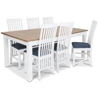 Skagen matgrupp - 180 cm Bord inklusive 6 st Herrgård Vindö stolar med blå sits - Vit/Ekbets