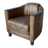 Vaxholm clubfåtölj - Antikbehandlat läder