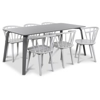 Visby matgrupp, 180 cm grått bord med 6 st vita Fredrik Pinnstolar