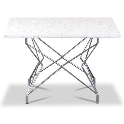 Terrazzo soffbord 75x75cm - Bianco Terrazzo & underrede Star krom