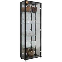 Optima vitrin & glasskåp - svart   2 dörrar (med spegelbakstycke)