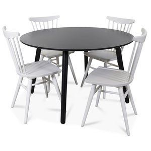 Rosvik matgrupp runt svart matbord med 4 st Thor pinnstolar- Svart / Vitt