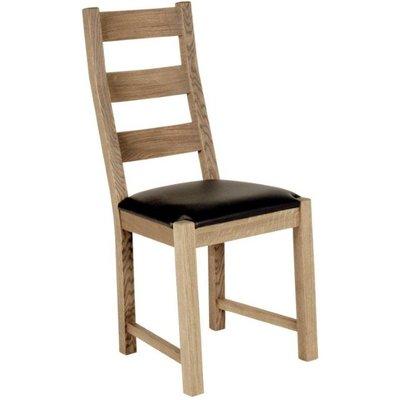 Quebec stol med brun skinnsits - Vitoljad