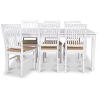 Mellby matgrupp 180 cm bord vit + 6 st Dalarö matstolar
