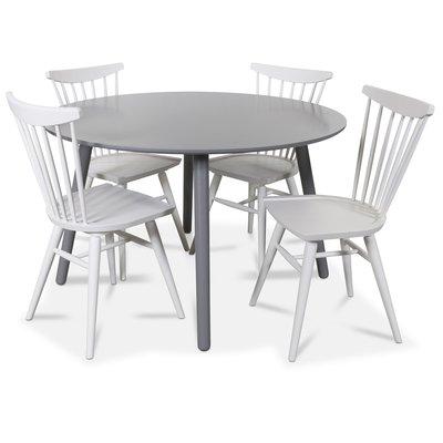Rosvik matgrupp runt grått matbord med 4 st Thor pinnstolar- Grått / Vitt