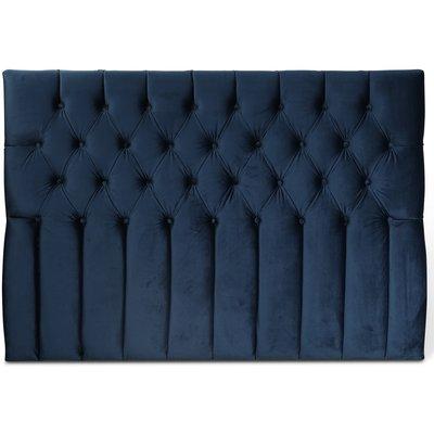 Presley sänggavel med knappar (Blå sammet) - Valfri bredd