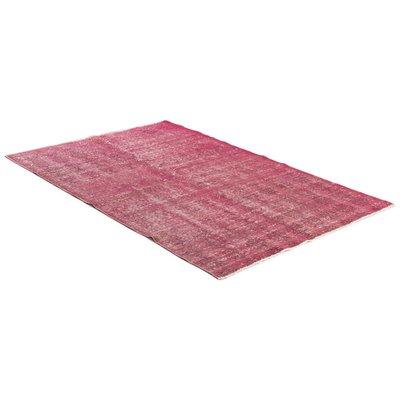 Äkta handknuten matta - Overdyed vintage Rosa