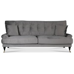 Adena 3-sits soffa - Silvergrå sammet
