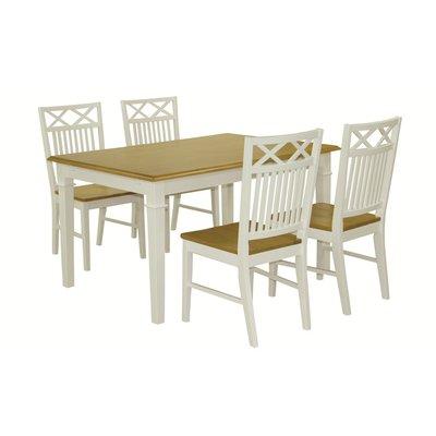Ramnäs matgrupp - Bord inklusive 4 st stolar - Vit/ek