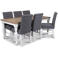 New England matgrupp 180 cm bord med 6 st Twitter matstolar i grått tyg