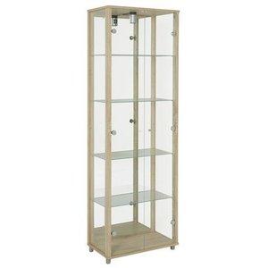 Optima vitrin & glasskåp - Ek | 2 dörrar (med spegelbakstycke)