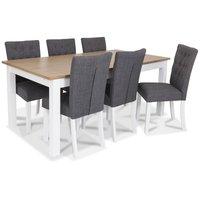 Skagen matgrupp - 180 cm Bord inklusive 6 st Crocket stolar i grå klädsel - Vit/Ekbets