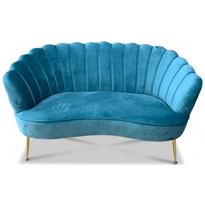 Snäckan 2-sits soffa - Turkos sammet / Mässing